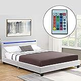ArtLife Polsterbett Verona 120  200 cm wei   Bettgestell inkl. LED-Beleuchtung, Kunstleder &...