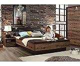 Kosoree Bettanlage Doppelbett Bett inkl. Fussbank Schlammeiche Schwarz 180 x 200 cm
