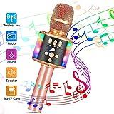HBBOOI Bluetooth-Karaoke-Mikrofon, bewegliches drahtloses Handmikrofon mit Dynamic Light for Kinder...