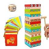 Euyecety Stapelspiele Kinderspiel ab 3 Jahre, Wackelturm Classic Montessori Spielzeug Stapelturm...