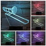 3D-Illusionslampe LED Nachtlicht Posaune USB Multicolor Jungen Kind Kinder Baby Geschenke...