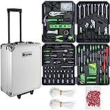 TecTake 899 teiliger Alu Werkzeugkoffer Trolley mit Werkzeug gefüllt, 4 Ebenen, Teleskopgriff