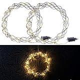 Lunartec LED-Kranz Weihnachten: 2er-Set LED-Lichterkränze für Fenster, Türen u.v.m, 32 warmweiße...