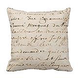 Hidoon Kissenbezug 1700S Vintage Französische Schrift Grunge Pergament Papier Dekorative...