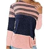Berimaterry Langarmshirts Damen Jumper Beiläufige Patchwork Pullover Sweatshirt Rundhals Oversize...