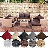 CLP Gartengarnitur Provence I Sitzgruppe mit 7 Sitzplätzen I Gartenmöbel-Set aus Polyrattan Sand,...