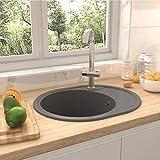 UnfadeMemory Küchenspüle mit Überlauf Granit Einbauspüle Spülbecken Küchenbecken Granitspüle...