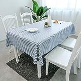 CFWL wasserdichte Tischdecke aus ölbeständigem Kunststoff Tischdecke Gitter Tischdecke blau...