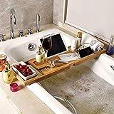 QTIAN Bambus Bad Tablett, Stehen Erweiterbare rutschfeste Bad Spa Container Natural Natural Holz...