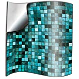Tile Style Decals 24 stück Fliesenaufkleber für Küche und Bad 24xTP3-6-Turquoise | Mosaik...