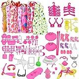 Pinsheng 118 Stück Kleidung zubehör Set Für Barbie Puppen, 10 Stück Freizeitkleider Partykleid...