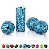 BODYMATE Faszien Mini-Set Grau-Blau - Mini-Faszien-Rolle L15xD6cm, Ball D8cm und Duo-Ball D8cm im...
