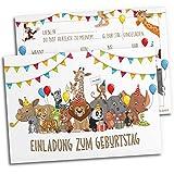 12x Einladungskarten für Kindergeburtstag | Safari-Tiere | Für Jungen & Mädchen |...