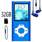Hotechs MP3-Player/MP4-Player, MP3-Player mit 32 GB Speicherkarte, schlankes Design, digitales...