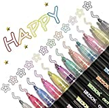 12 Farben Double Line Outline Pens, Fluorescent Glitter Two-line Pen Permanent Marker Pen...