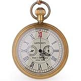 Kupfer Antik LONDON Pocket & Schlüsselanhänger Uhren Mechanische Uhr Hand Wind Skelett Herren...