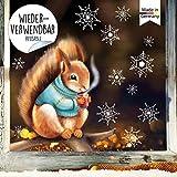 Wandtattoo Loft Fensterbild Weihnachten Eichhörnchen mit Pulli Schneeflocken Wiederverwendbare...