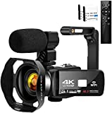 Camcorder Videokamera 4K HD 48MP Camcorder 3.0'HD Touchscreen Videokamera für YouTube Digitalkamera...