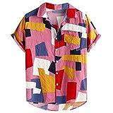 XIAOMEIO Fashion Abstrakt Drucken Hawaii Hemd Männer Cool Atmungsaktive Hemden Herren Kurzarm Baggy...