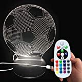 DONJON LEDNachtlicht, LED fussball Lampe mit Wireless Fernbedienung 16 Farben für Kinder...