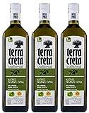 3x 1,0l Terra Creta Olivenöl P.D.O. Kolymvari | Extra natives Olivenöl von Kreta | + 1 x 20ml...