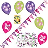 HHO Eulen-Deko-Set Owl-Deko-Set Eulen-Party-Ausstattung Wimpelkette Luftballons Konfetti
