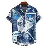 Shirt Herren Basic Atmungsaktiv Knopfleiste Kurzarm Herren T-Shirt Sommer Kariert Mode Design Herren...