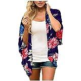 serliyDamen Florale Kimono Cardigan - Chiffon Tops 3/4 Arm Cardigan Bluse Shawl Sommer Beachwear...