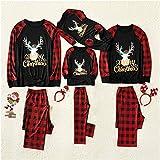 Fenverk Weihnachten Familie Outfit Set Matching Lange Ärmel Bluse + Plaid Lange Hosen Pyjama Set...