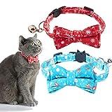 ZIFEIPET Weihnachts-Katzenhalsband mit Schleife, 2 Stück, verstellbare Halsbänder mit Glöckchen,...