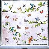 2 Blatt Fensteraufkleber Selbstklebend mit Vogel und Schmetterling Aufkleber Fenster Frühling...