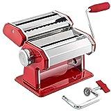 bremermann Nudelmaschine Edelstahl/Metall rot - für Spaghetti, Pasta und Lasagne (7 Stufen),...