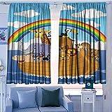 AndyTours Thermo-Vorhänge für Zuhause, Dunkelblau/Weiß, Polyester, Color05, 72'x45'(183cm x115cm