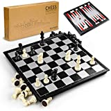 Gibot 3-in-1 Schachspiel Magnetisch , 32CM x32 cm Einklappbar Schachbrett Pädagogische Speil mit...