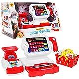 BSD Spielzeug Kasse, Supermarktkasse mit Spielgeld, Kalkulator, Scanner, Einkaufskorb und Zubehör