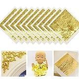 FUNVCE 10Blatt 24 Karat Blattgold Goldblatt 4.33 * 4.33cm Goldfolie zum Basteln Lebensmittel Kuchen...