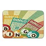 Vintage Dekor rutschfeste Gummi Eingang Teppich, Bingo Spiel mit Ball und Karten Pop Art stilisierte...