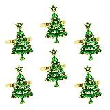 YARNOW 6Pcs Weihnachtsbaum Serviettenringe Inhaber Weihnachten Strass Serviette Schnalle...