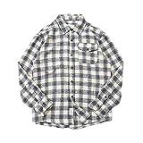 EYKERYE Männer Retro-Kariertes Arbeitshemd, modische lose Männer beiläufige Hemd-Jacken (Color :...