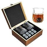 Whiskyglas Geschenkset, 2 traditionelle Trinkgläser, 8 Whisky-Steine, Kühlsteine & Bar-Gläser -...