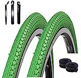 2 x Roverstone Fahrradreifen grün 28x1,4 Zoll (700x35c) + 2 Schläuche AV inkl. Reifenheber