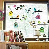 WandSticker4U®- Fensterbilder niedliche Vogel Familie I Baum Zweig 4x75cm I Fensterdeko Kinder...