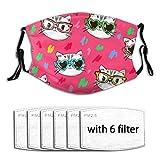 Cool Kitties Katze Sonnenbrille (3) Gesichtsmaske mit 6 Filtern Winter Bandana Wiederverwendbarer...