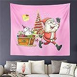 AdoDecor Frohe Weihnachten Geschenk Tapisserie Rosa Cartoon Weihnachtsmann drucken Wandbehang Kinder...
