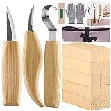 Fuyit Holz Schnitzwerkzeug Set-Beinhaltet 6 Teiliges Holz Schnitzmesser Set &10 Pcs Linde...