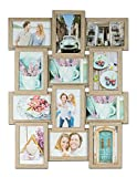 levandeo Holz Bilderrahmen Farbe: Eiche gekälkt hochwertig verarbeitet für 12 Fotos 10x15cm mit...
