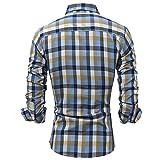 LJBN Herren Trendy Gitter Hemd Lässiges Langarmhemd Slim Fit Business Hochzeit Freizeithemd Style...