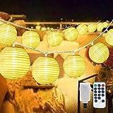 40 LED Lampions Lichterkette Außen Strom, Aktualisierte Version Erweiterbar 8 modi 10M Warmweiß...