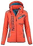 Geographical Norway Damen Softshell Funktions Outdoor Regen Jacke Sport [GeNo-24-Orange-Gr.M]