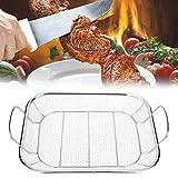 Ausla Grillrost für BBQ Grill Netz Korb, Grillrost und Korb für Grill aus Edelstahl, mit Holzgriff...
